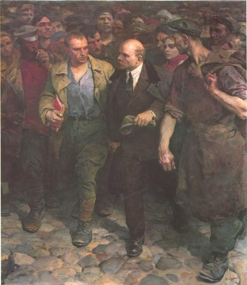 В. Серов. С Лениным. Масло. 1961.