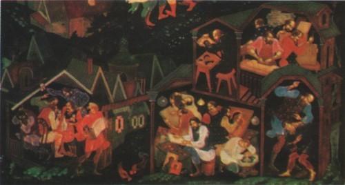 В. Ходов. Пластина «Семь цветов радуги». 1974. Фрагмент «Старый Палех».