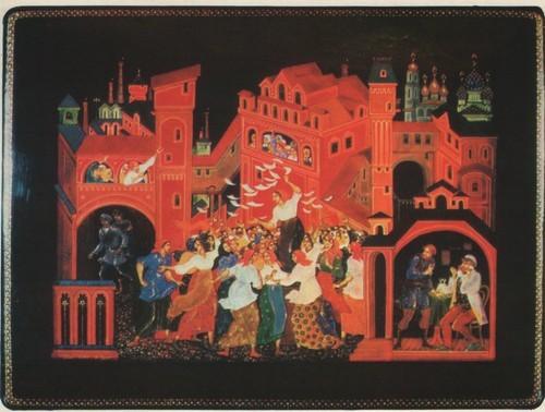 В. Ходов. Шкатулка «Красные косынки». 1976.