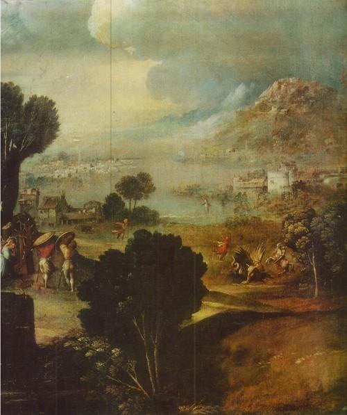 (Джованни ди Лютери) Доссо Досси пейзаж со сценами из жизни святых