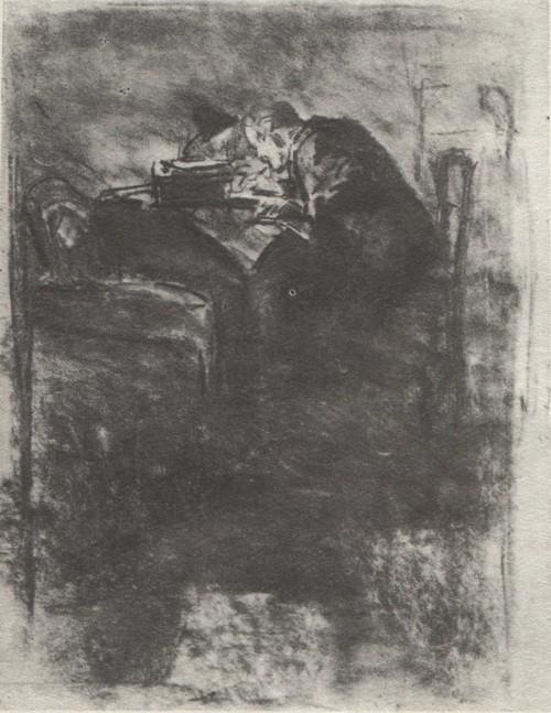 Е. Кибрик. Эскизы рисунка. «В. И. Ленин в подполье». 1947.