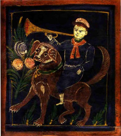 И.А. Мазин. Пионер на собаке. Стульчик-сиделка. 1930-е гг. Деталь