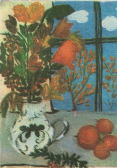 Катя Рожкова, 9 лет. Натюрморт с окном. Гуашь.