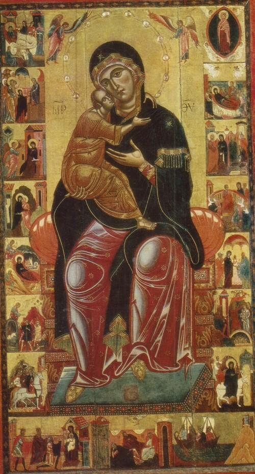 Мадонна на троне в житии. Вторая половина XIII века. Дерево, темпера. 2,48 X 1,38