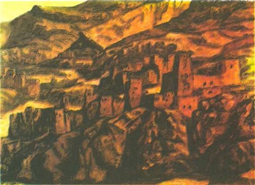 Мириам Мизиан. Южный ландшафт. Темпера. 1969. 86,3 X 118,9.