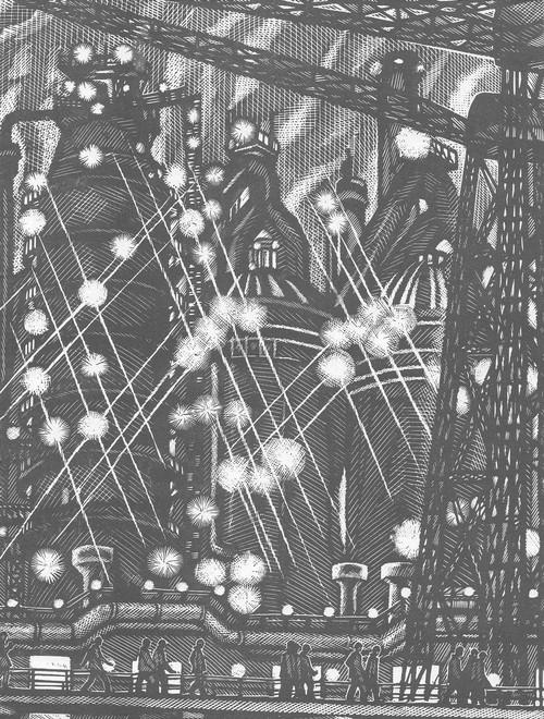 М. Ахунов. Ночная смена. Линогравюра. 1973.