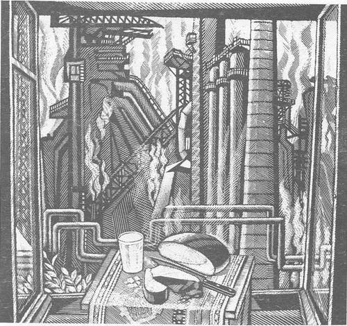 М. Ахунов. Хлеб (Новолипецкий металлургический завод). Линогравюра. 1977.