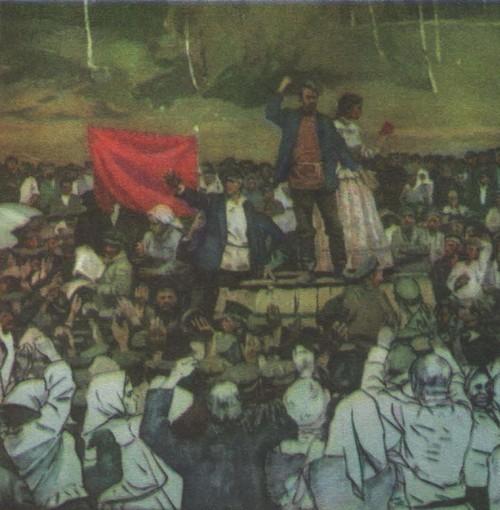 М. Самсонов, Н. Соломин. Выступление Е. А. Дунаева. Фрагмент диорамы (в процессе работы). Масло. 1980.