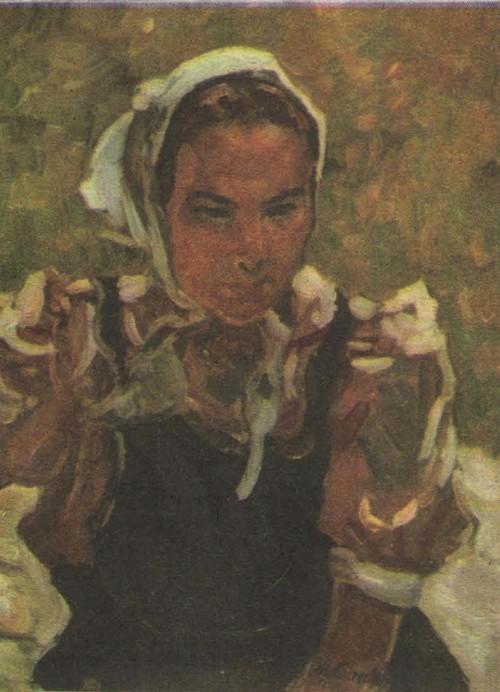 М. Самсонов. Девушка в косынке. Этюд к диораме. Масло. 1979.