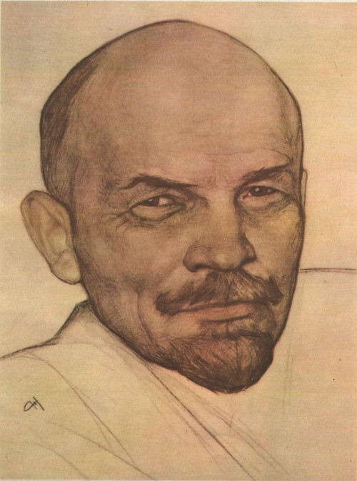 Н. Андреев. В. И. Ленин. Сангина, итальянский карандаш, пастель. 1924.