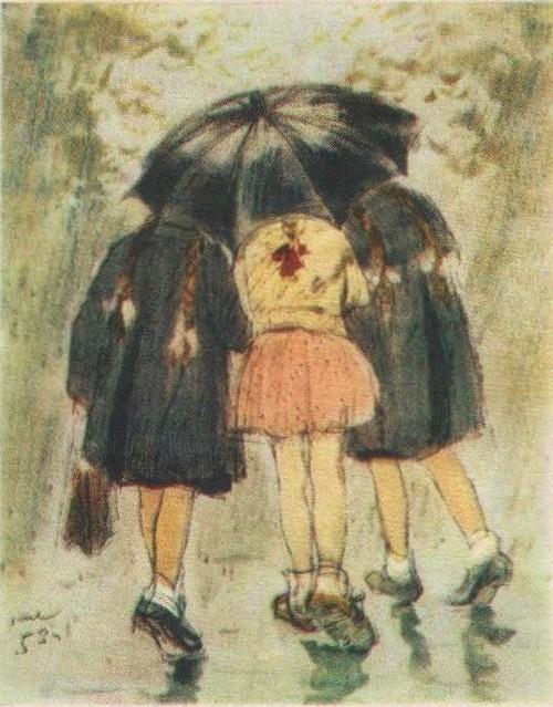 Н. Жуков. Пять косичек в непогоду. Акварель. 1953