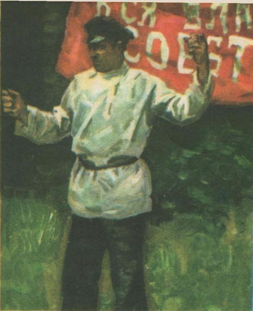 Н. Соломин. Большевик-оратор. Этюд к диораме. Масло. 1979.