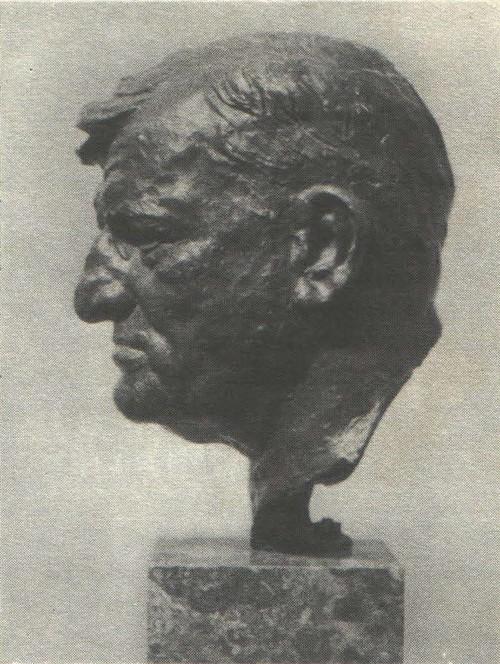 Н. Томский. Портрет французского рабочего Жозефа Гельтона. Бронза. 1954.