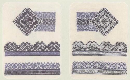 Образцы работы двусторонними швами набор и роспись по мокшанским аналогам. Лицевая и изнаночная сторона