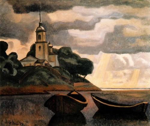 Пейзаж с лодками и церковью . 1974