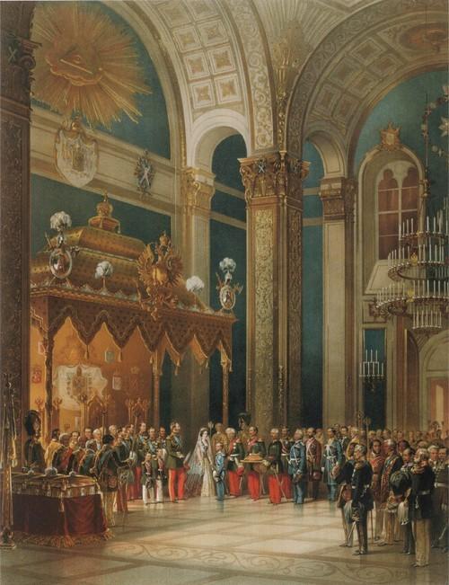 Поздравление, приносимое казачьим войском Александру II в Успенском соборе