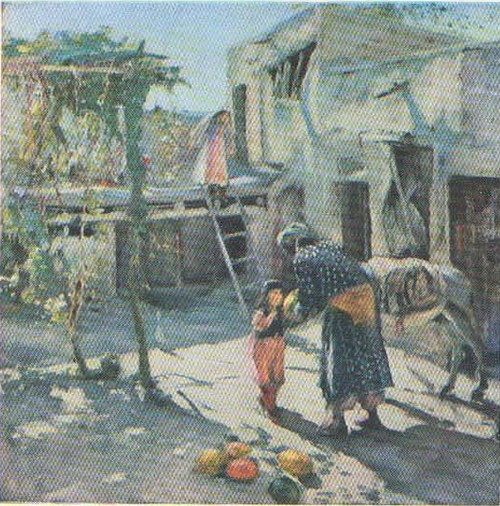 П. Беньков. Дворик. Масло. 1947.