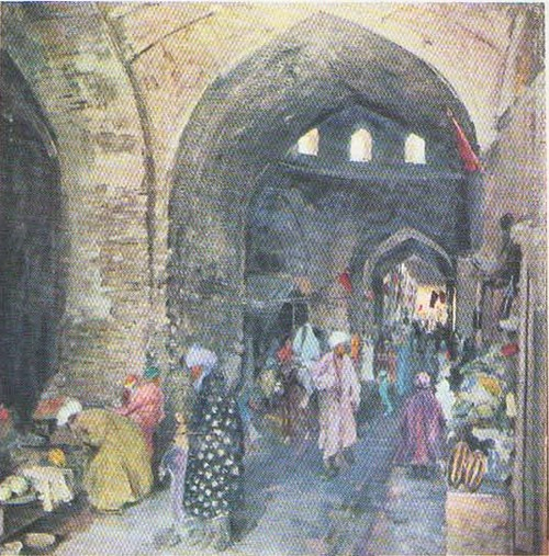 П. Беньков. Крытый базар в Бухаре. Масло. 1929.