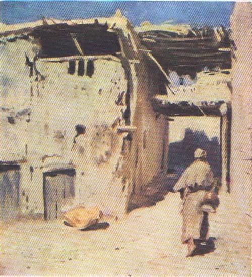 П. Беньков. Чайхана. Масло. 1947.