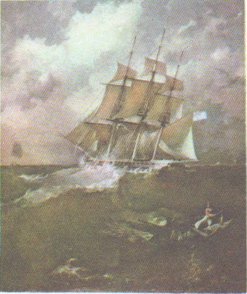 П. Борисполец. Фрегат «Аврора». Масло. 1844.