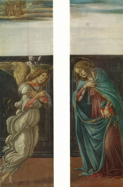 Сандро Боттичелли Мария Аннунциата и архангел Гавриил из сцены «Благовещения»