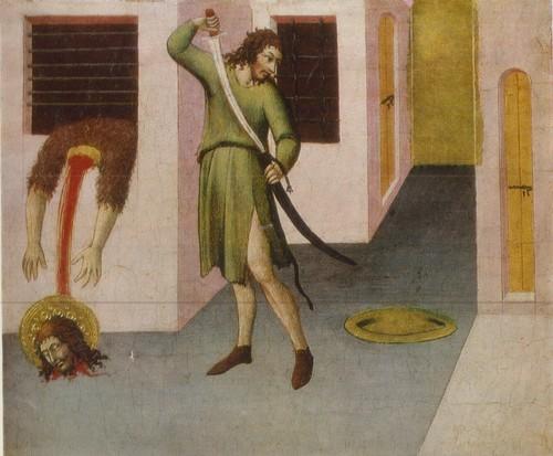 (Ди Менчо) Сано ди Пьетро Казнь Иоанна Крестителя 1444—1450 . Дерево, темпера. 0,24 X 0,34
