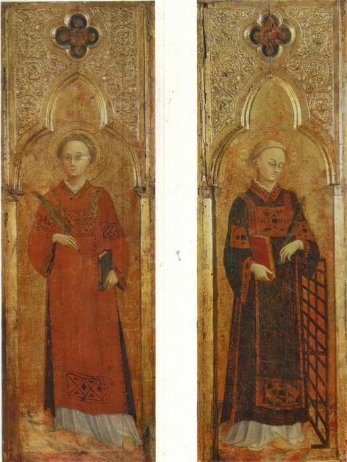 Сассета Стефано Ди Джованни Св. Лаврентий Св. Стефан 1392(?) —1450. Дерево, темпера. Каждая 0,76X0,25