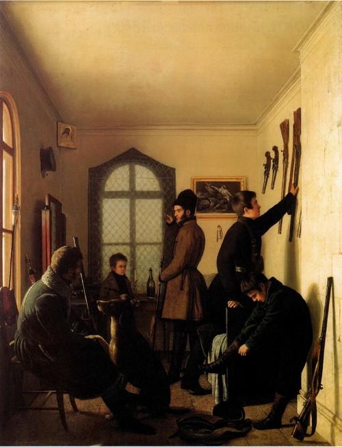 Сборы художников на охоту. 1836