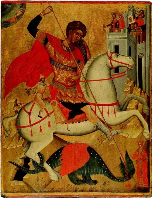 Св. Георгий с двойным чудом. Середина XVI века. Крит. Из собрания Л.К. Зубалова.
