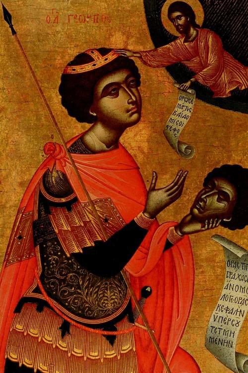 Св. Георгий с отсеченной головой. XV век, Крит. Из собрания Л.К. Зубалова
