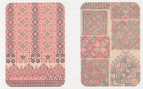 Схема расположения швов эрзянской и мокшанской вышивки