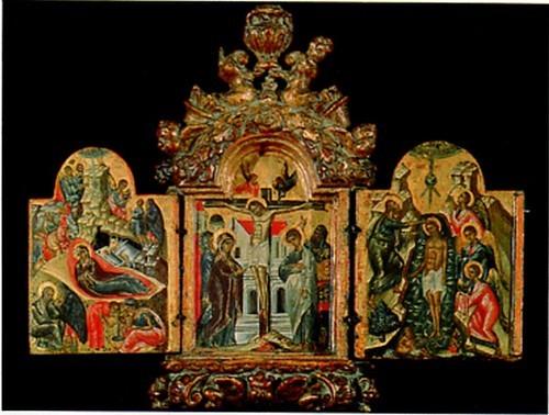 Триптих с пятью великими праздниками. XVI век. Крит. Из собрания Л.К. Зубалова.