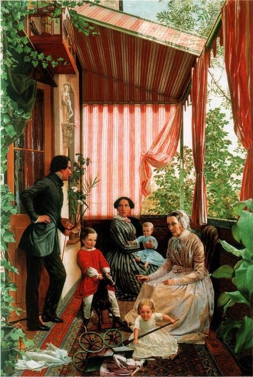Федор Славянский . Семейная картина (На балконе). 1851