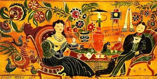 Ф.С. Краснояров. Чаепитие с хозяйством Быт семьи и ее привкусы. Панно. 1935