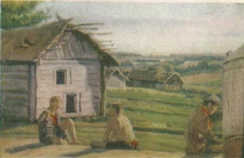 Ф. Нестеров. У гумна. Из серии «Чуваши». Масло. 1935.