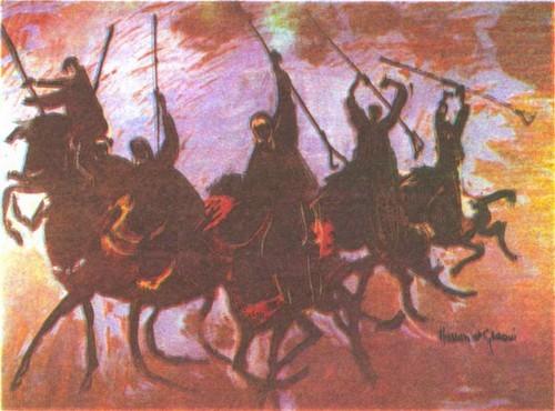 Хассан Аль-Глауи. Всадники на голубом фоне. Гуашь. 1971. 75,3 X 110,4.