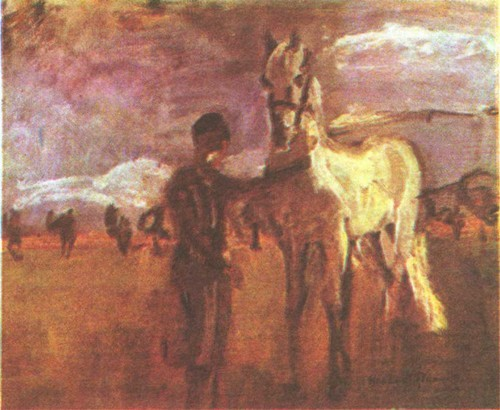 Хассан Ал ь-Г л а у и. Всадник с лошадью. Масло. 1963. 33,5 X 71,9.