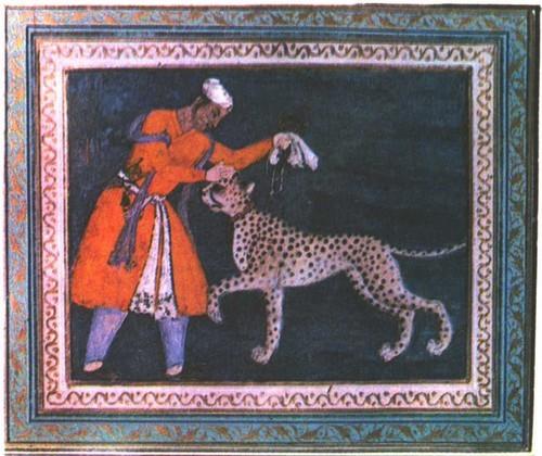 Юноша с гепардом. Индия. Могольская школа. Гуашь. VII век.