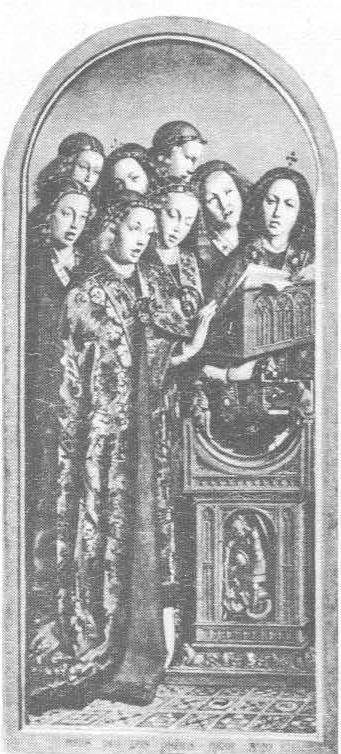 Ян ван Эй к. Гентский алтарь. Поющие ангелы, левая внутренняя створка.