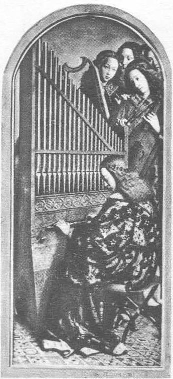 Ян ван Эйк. Гентский алтарь. Музицирующие ангелы, правая внутренняя створка