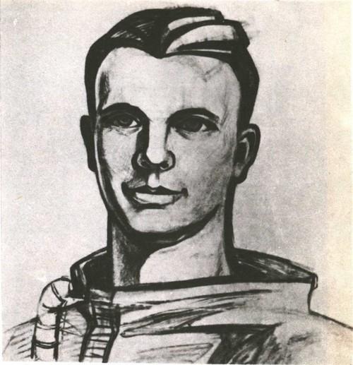 Я. Скрипков. Юрий Гагарин. Рисунок к мозаичному портрету. Уголь. 1961.