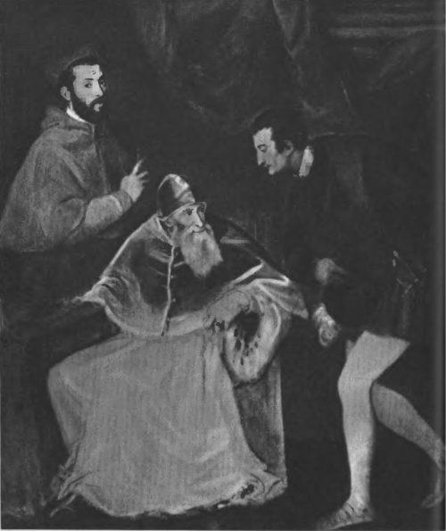 Портрет Павла III с внуками. 545—546 гг. Холст, масло. 201x175. Неаполь. Музей