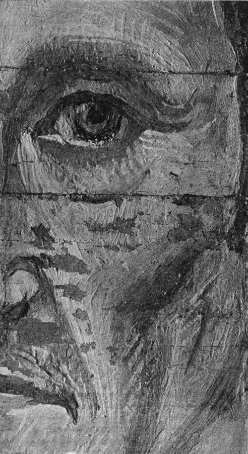 Увеличение части фактуры портрета пожилого мужчины