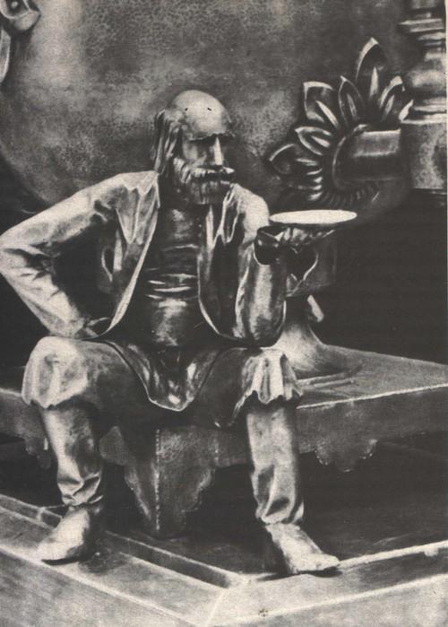 Ю. Александров. Скульптурные композиции из серии «Русское веселье» для одного из залов туристического комплекса в г. Суздале. Кованая медь. 1974—1976.