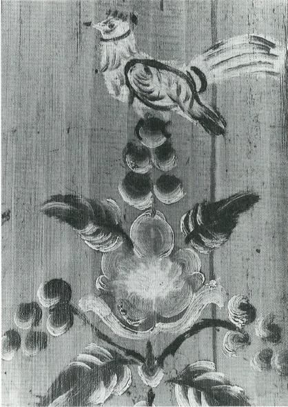 ШКАФ (стенка). 1915 г. Роспись вятского типа. Дерево, столярная работа; масло, окраска, роспись; 165X27X2; БКМ 2810/1. На желто-оранжевом фоне написано пятиярусное дерево с цветами, виноградом и птицей на вершине. На вазоне: «1915». Цвета росписи: синий, красно-коричневый, зеленый, белый, черный. Усольский р-н, д.Закаменная, 1980.