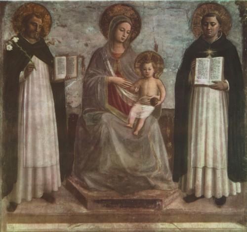 Анджелико да Фьезоле (фра Беат о). Мадонна с младенцем, святыми Домиником и Фомой Аквинским. Фреска. 1436