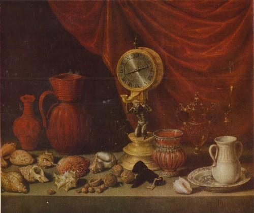 Антонио Переда Натюрморт с часами. 1652 Холст, масло. 0,78 х 0,91