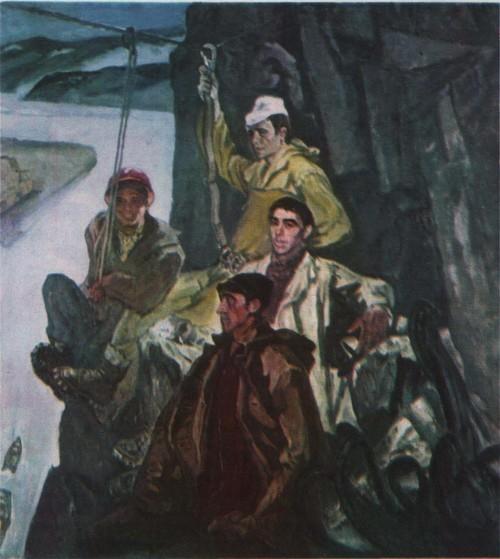 А. Алексеев. Строители-скалолазы Саянской ГЭС. Масло. 1974.