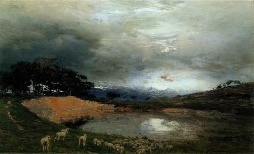Биарриц . Перед грозой . Озеро в Ландах и горелый сосновый лес . 1891