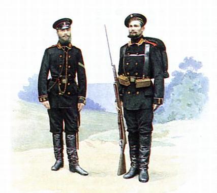 Боцман и матрос в строевой форме. 1881-1892